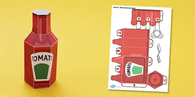 Supermarket Role Play Tomato Sauce Paper model - model, bottle