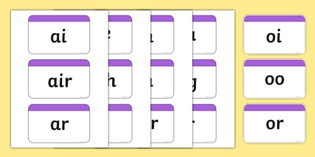 Phase 3 Phoneme Plain Flash Cards - phase three, visual aid