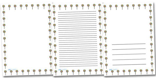 Swirly Lollypop Portrait Page Borders- Portrait Page Borders - Page border, border, writing template, writing aid, writing frame, a4 border, template, templates, landscape