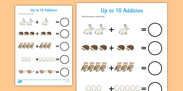 The Mitten Up to 10 Addition Sheet - the mitten, addition, sheet