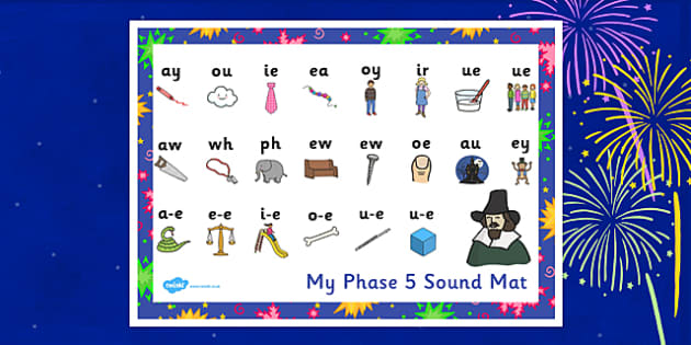 Bonfire Night Firework Themed Phase 5 Sound Mat - bonfire night, firework, phase 5, phase five, sounds, sound mat, letters and sounds, phonics, phonemes