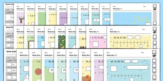 Year 1 Maths Quiz Challenge Pack