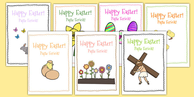 Easter Card Templates Romanian Translation - romanian, Design, Easter card, Easter activity, card, fine motor skills, card template, bible, egg, Jesus, cross, Easter Sunday, bunny, chocolate, hot cross buns