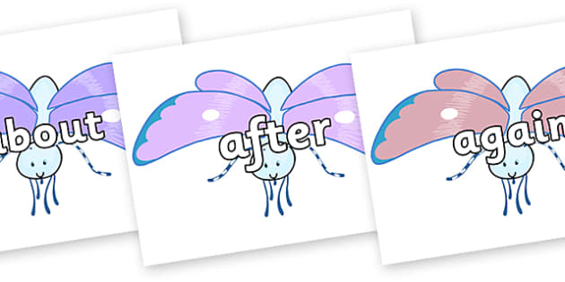 KS1 Keywords on Blue Butterfly to Support Teaching on The Crunching Munching Caterpillar - KS1, CLL, Communication language and literacy, Display, Key words, high frequency words, foundation stage literacy, DfES Letters and Sounds, Letters and Sounds