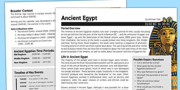 Ancient Egypt History Fact Sheet for Adults - ancient egypt, history