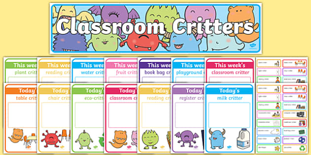 'Classroom Critters' Classroom Monitors Resource Pack