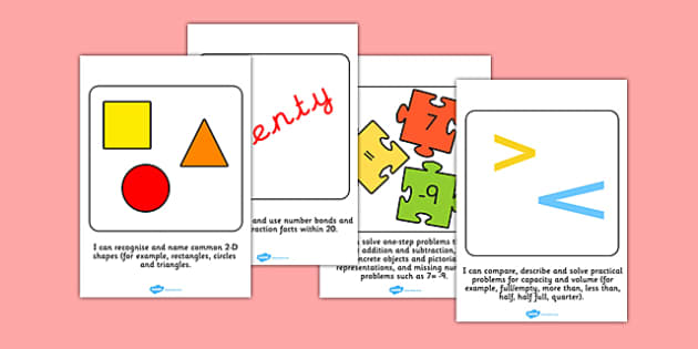 Year 1 Maths Targets Large Cards - year 1, maths, targets, large, cards