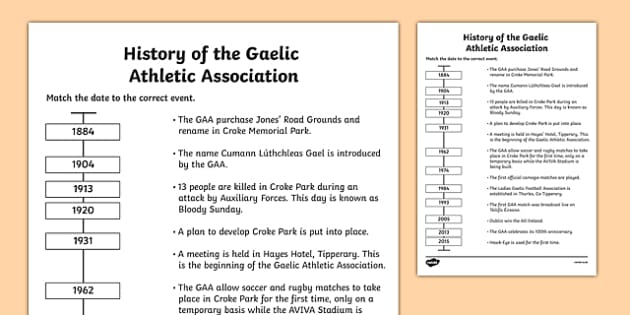 History of the GAA Timeline Matching Activity - history, ireland, GAA, hurling, worksheet, timeline, activity, sport