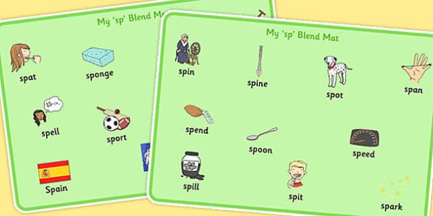 SP Blend Word Mats - sp, blend, sound, sen, word mats, word, mats