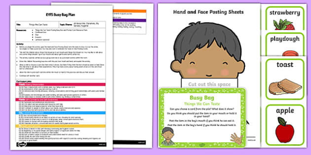 EYFS Things We Can Taste Busy Bag Plan and Resource Pack