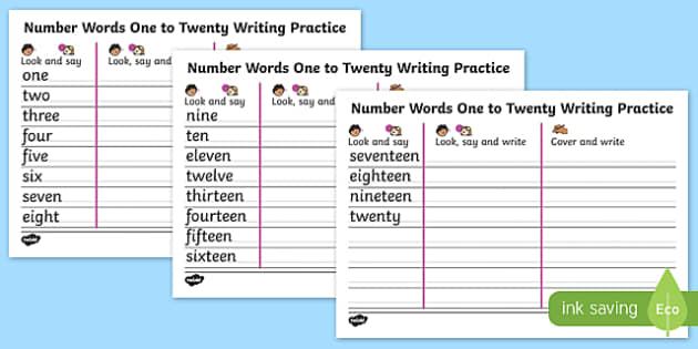 Free Worksheets number words spelling worksheets : Words One to Twenty Writing Practice Sheets - write