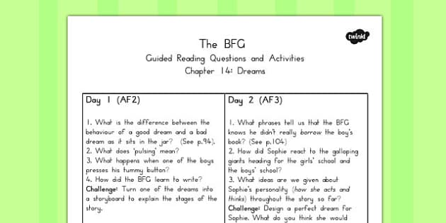 Guided Reading Questions Chapter to Support Teaching on 14 The BFG - australia, bfg, guided reading