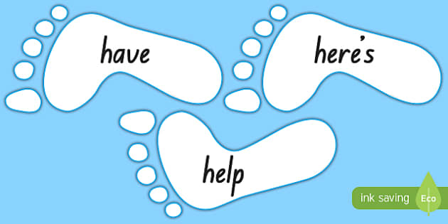 New Zealand Blue Sight Words on Footprints Display Cut-Outs