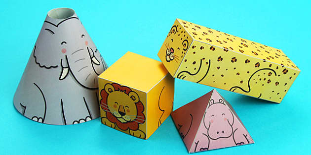Animal Themed 3D Shape Nets - 3d, shape, animals, net, 3d shape, animal