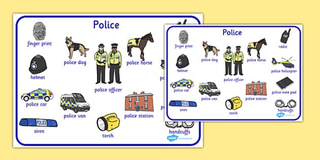 Police Word Mat - police, word mat, word, mat, criminals, crime