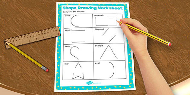 Visual Perception Shape Drawing Worksheet - shape, drawing, sheet