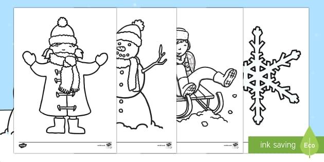 Feuilles de coloriage : L'hiver - Hiver, winter, coloriage, colouring, feuilles, images, dessins, pictures, arts plastiques,French