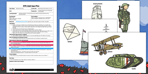 Remembrance Day Memory Activity EYFS Adult Input Plan and Resource Pack