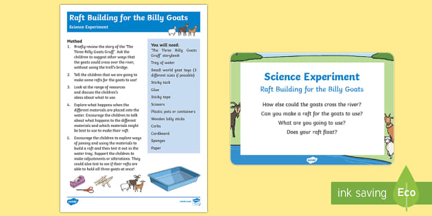EYFS Raft Building for the Billy Goats Science Experiment and Prompt Card Pack