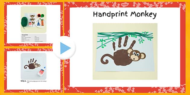 Handprint Monkey Craft Instructions PowerPoint - EYFS, KS1, craft, jungle, rainforest, Chinese New Year, animals
