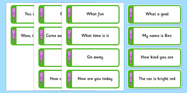 Exclamation Mark Sorting Cards - Exclamation mark sentences, sorting cards