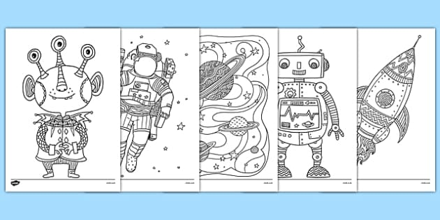 Space Themed Mindfulness Colouring Sheets - space, mindfulness, colouring sheets, colouring, sheets, colour