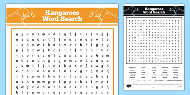 Australian Animals Years 3-6 Kangaroo Word Search - australia, Australian Curriculum, animals, marsupials, kangaroos, activity, wordsearch