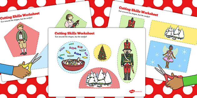 The Nutcracker Cutting Skills Worksheet - nutcracker, cutting