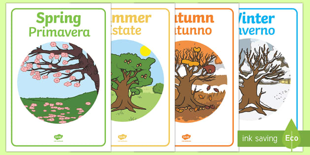 Four Seasons Posters A4 English/Italian - Four Seasons Display Posters - Seasons, season, autumn, winter, spring, summer, fall, seasons activi