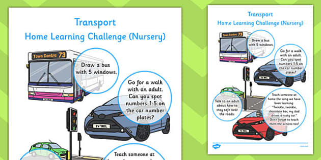 EYFS Transport Themed Home Learning Challenge Sheet Nursery FS1