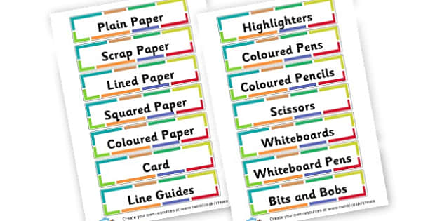 Steven Resources - Resource Labels Primary Resources, resource, label, drawer labels