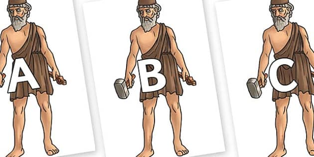 A-Z Alphabet on Hephaestus - A-Z, A4, display, Alphabet frieze, Display letters, Letter posters, A-Z letters, Alphabet flashcards