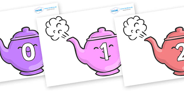 Numbers 0-31 on Teapots - 0-31, foundation stage numeracy, Number recognition, Number flashcards, counting, number frieze, Display numbers, number posters