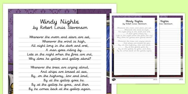 Windy Nights Poem Handwriting Practice - poem, handwriting, practice, writing, wrindy nights, robert louis stevenson