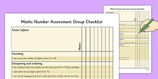 1999 Curriculum Senior Infants Maths Number Assessment Group Checklist - roi, irish, gaeilge, assessment checklist, maths, senior infants, number