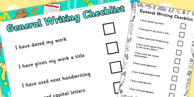General Writing Checklist - general, writing, checklist, list