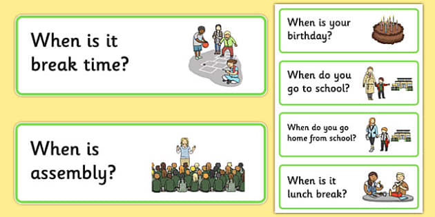 50 When Question Cards - question words, when vocabulary, quick attention games, quick listening games, starter games