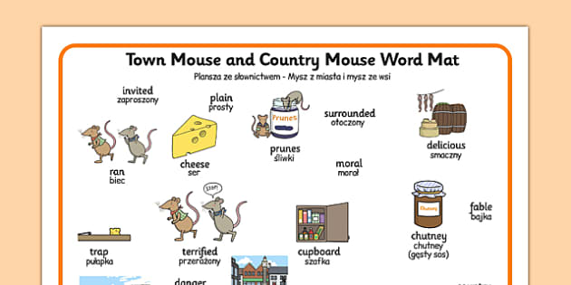 The Town Mouse and the Country Mouse Word Mat Polish Translation - polish, town mouse, country mouse