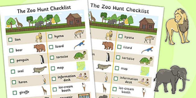 The Zoo Hunt Checklist - zoo, hunt checklist, check, list, hunt