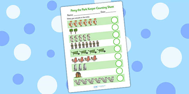 Counting Sheet to Support Teaching on Percy The Park Keeper - percy the park keeper