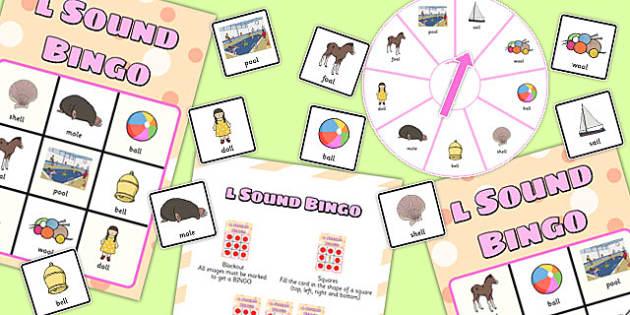 Final 'L' Sound Spinner Bingo - l sound, final, spinner, bingo