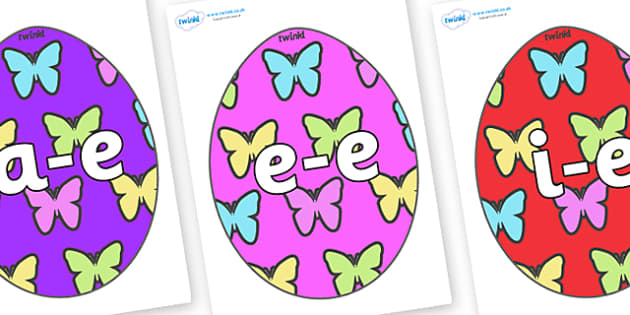 Modifying E Letters on Easter Eggs (Butterflies) - Modifying E, letters, modify, Phase 5, Phase five, alternative spellings for phonemes, DfES letters and Sounds
