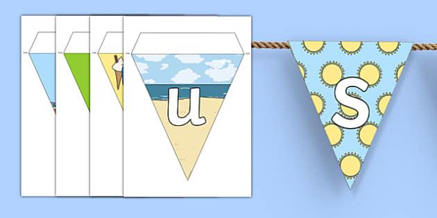 Summer Display Lettering Bunting - summer, display, bunting