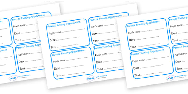 Parents Evening Appointment Cards - parents, parents evening, cards, appointments, appointment cards, pupil's name, date, time, cards