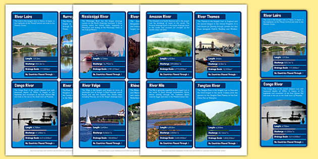 Rivers Card Game - rivers, top trumps, cards, activity, game