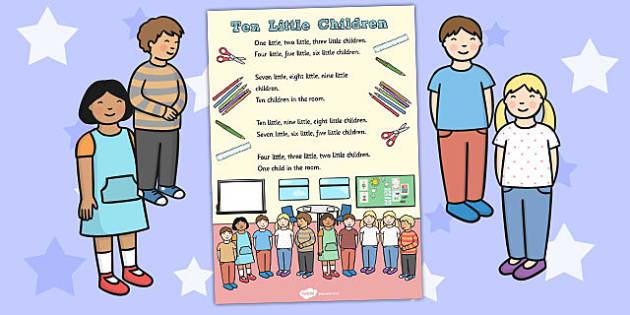 Ten Little Children Counting Song Sheet - Ten, Little, Children