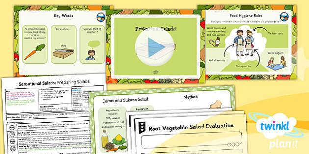 PlanIt D&T KS1 Sensational Salads Lesson 3 Preparing Salads Pack