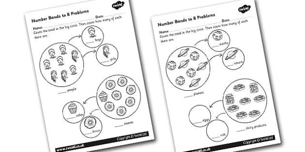 Number Bonds to 8 Problems Worksheet - numbers, bond, worksheet