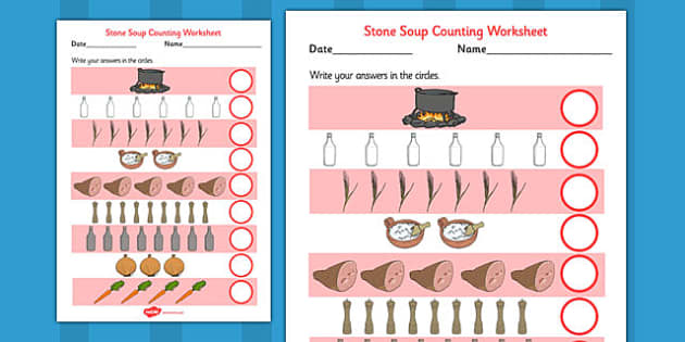 Stone Soup Counting Sheet - stone soup, counting sheet, count