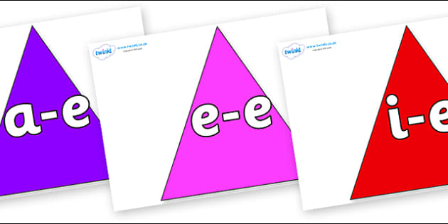Modifying E Letters on Triangles - Modifying E, letters, modify, Phase 5, Phase five, alternative spellings for phonemes, DfES letters and Sounds